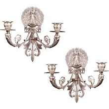 """A pair of Silvered Bronze Two-Light """"PEACOCK"""" Motif Sconces made in the Napoleon III Style, France 20th Century"""