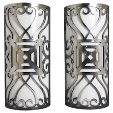 20th Century Polished Iron Sconces
