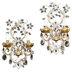 """Gilt bronze and crystal two light sconces by """"Jansen"""" France, circa 1940"""