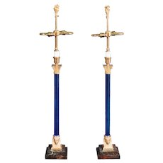 Art Deco Lamps with an Egyptian Revival Style in Blue Crystal and Gilt Bronze with Spinx and Capitals mounted on rouge marble bases