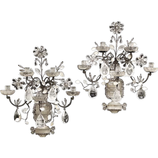 "Rock crystal and iron five-light sconces by ""Maison Bagues"""