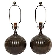 "Art Deco patinated bronze ""Disko"" lamps"