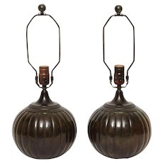 "Art Deco patinated bronze ""Disko"" lamps"