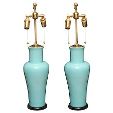 Chinese vase lamps in robin's egg blue.