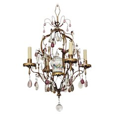 """BAGUES"" Gilt Bronze and Tole four light chandelier with porcelain chinoiserie urn and clear and amethyst crystal sprays. France"