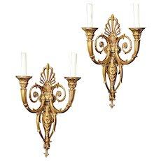 Empire Style gilt bronze two light sconces