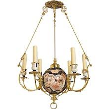 19th Century Imari Porcelain And Brass Chandelier
