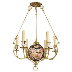 19th Century Imari Porcelain And Brass Chandelier