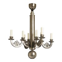 """Hand Forged Wrought Iron Eight Light Art Deco Chandelier With A Stylized Foliate Motif, Signed """"E.BRANDT"""""""