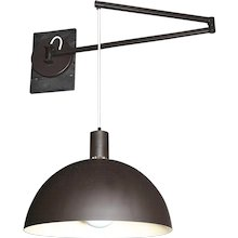 Patinated brass swing arm sconces with domed shades by Franco Albini, Italy 20th century