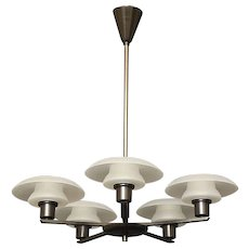 Polished Brass Five-Light Chandelier With Brass trimmed Frosted Glass Shades, Denmark circa 1950