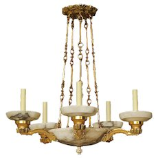Alabaster and bronze five light chandelier
