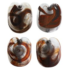 Mid-Century hand-blown smoked glass one light sconces by LUTKEN Denmark, mid 20th century