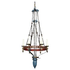 Polychrome iron six light counter - weight chandelier with decorated gallery