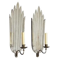 ART DECO two-toned mirror back one-light sconces