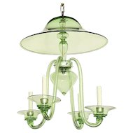 ART DECO Style J-arm green Murano glass four light chandeliers with smoke bell