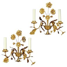 Gilt bronze sconces in a