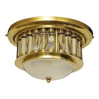 Gilded brass chandelier with eight tiered opaline glass shades and metal banding