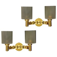 Gilded brass two light sconces with fluted grey glass shades, Italy,circa 1950