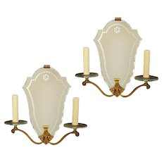 Art Deco etched mirrored back two light sconces with bronze frames and glass bobeches, France circa 1930.