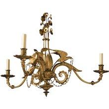 "Victorian gilt bronze three light chandelier with ""Parrot"" motif, England, circa 1850"