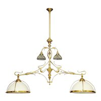 ART NOUVEAU gilded bronze and opaline glass billiard light
