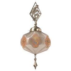 Secession movement frosted glass and spelter pendant with bird motif