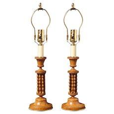 """Burr Ash lamps signed """"Deromaz-Cadets St."""""""