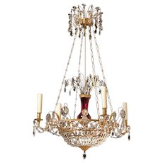 Russian Cranberry Glass Chandelier