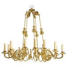 French Polished Brass Chandelier