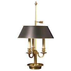 Gilded bronze three light square arm bouillotte with the column. Lead  time 14-16 weeks.