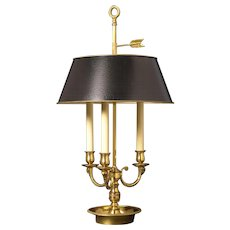 Gilded bronze three light rams head bouillotte with painted tole shade. Lead time 14-16 weeks.