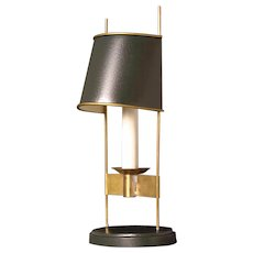 Painted tole one light oval base bouillotte with half oval shade. Lead time 14-16 weeks