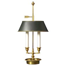 Gilded bronze two light bouillotte with oval tole shade. Lead time 14-16 weeks.