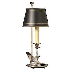 Silvered bronze one light DOLPHIN bouillotte with black painted tole shade. Lead time 14-16 weeks.