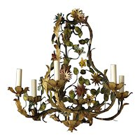 Gilded and painted iron six light Floral chandelier