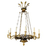 EMPIRE Style gilt and gunmetal bronze twelve light chandelier