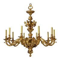 REGENCE Style gilded bronze ten light chandelier