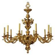 REGENCE Style gilded bronze ten light chandelier