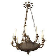 EMPIRE Style bronze and tole nine light chandelier
