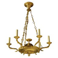 EMPIRE Style gilded bronze six light chandelier