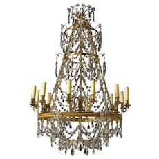 RUSSIAN Style gilded bronze and crystal twelve light chandelier