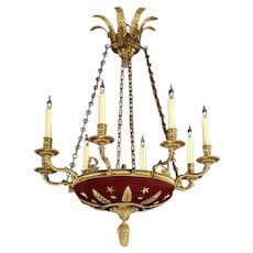 EMPIRE Style gilded bronze and painted tole eight light chandelier