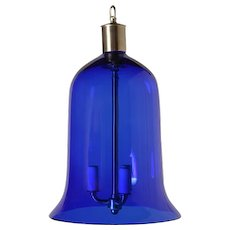 Cobalt crystal bell jar lantern,three lights