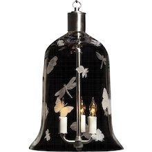 """""""FLUTTER"""" crystal bell shaped three light lantern."""