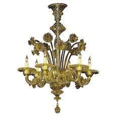 "Venetian ""FUME"" colored six light glass chandelier"