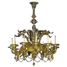"Venetian ""FUME"" colored twelve light glass chandelier"