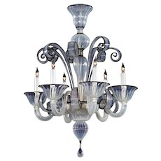 Venetian opaline with black trim six light glass chandelier