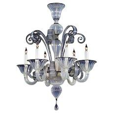 Venetian opaline with black trim six light glass chandelier
