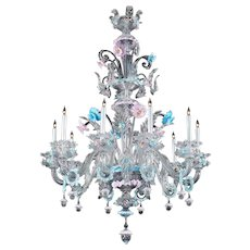 Venetian clear glass ten light chandelier, with pink and blue trim